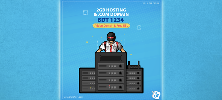 2GB Hosting এর সাথে .COM Domain পাচ্ছেন মাত্র ১২৩৪ টাকায়!