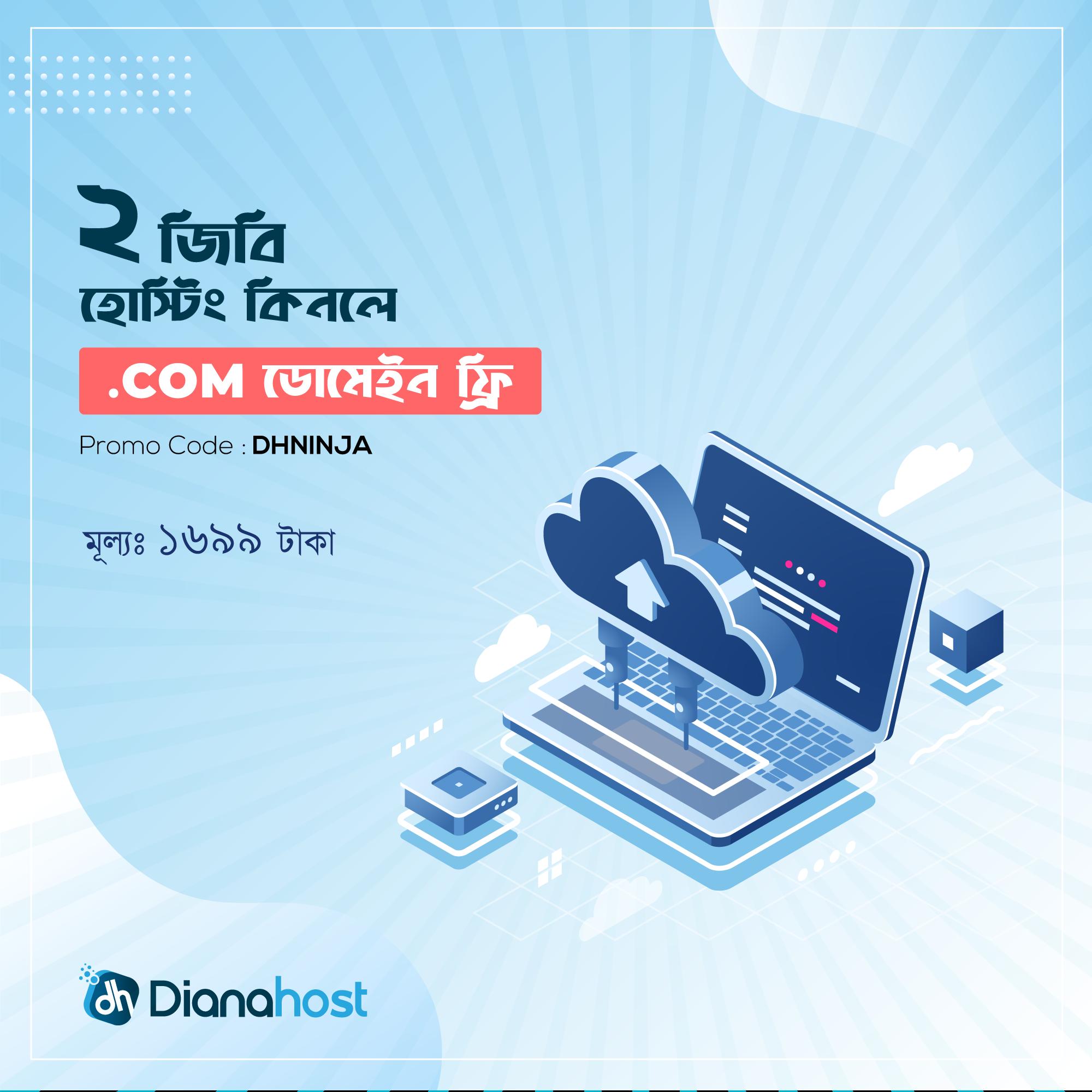 buy 2gb hosting get .com domain free, dianahost offer, best web hosting company bangladesh